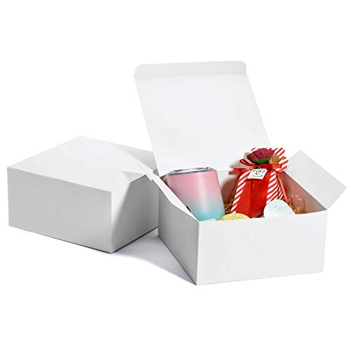 MESHA Gift Boxes 10 Pack 8 x 8 x 4 inches, Paper Gift Boxes with Lids for Gifts, Crafting, Cupcake Boxes