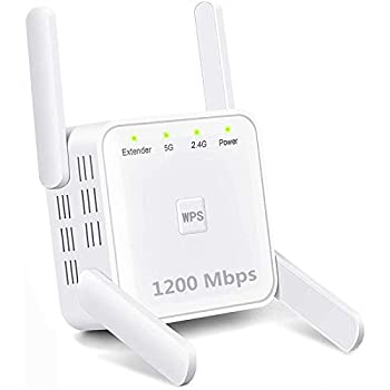 WiFi Range Extender 1200Mbps Wireless Signal Repeater Booster Dual Band 2.4G and 5G Expander 4 Antennas 360° Full Coverage Extend WiFi Signal to Smart Home & Alexa Devices(KW1200M06)