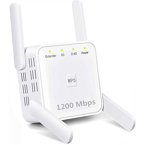 WiFi Range Extender, 1200Mbps Wireless Signal Repeater Booster, Dual Band 2.4G and 5G Expander, 4 Antennas 360° Full Coverage, Extend WiFi Signal to Smart Home & Alexa Devices(KW1200M02) (1200Mbps)