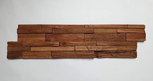 3D Holz Wandverkleidung P-3 Tropical 1 Stück 15 x 57 cm Verblender Riemchen Echtholz Holzriemchen