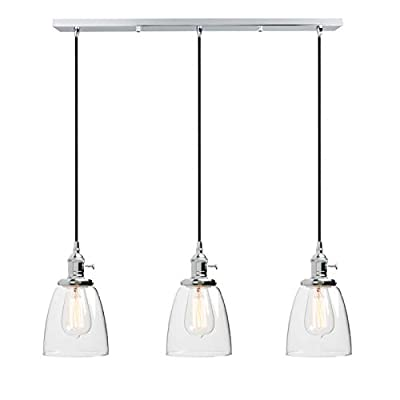 Phansthy Industrial Chandeliers 3 Light Ceiling Light with 3 Glass Canopy