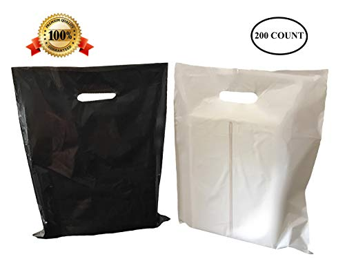 200 12 X 15 Medium Black and White Merchandise Bags, Comfortable Die Cut Handles, Premium, Strong, Durable, Tear-Resistant Glossy Bags, Perfect for Retail, Boutiques, or Any Other Events