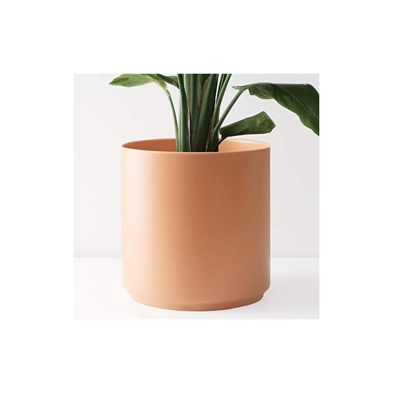 "silk flower arrangements peach & pebble 10"" ceramic planter (15"", 12"", 10"", 8"" or 7"") - large melon plant pot, hand glazed indoor flower pot for all indoor plants (white, black, peach or gold) - melon, 10 inch…"
