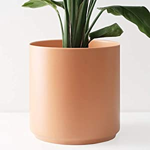 PEACH & PEBBLE 12″ Ceramic Planter (15″, 12″, 10″, 8″, 7″ or 5″) – Large Melon Plant Pot, Hand Glazed Indoor Flower Pot for All Indoor Plants (White, Black, Melon or Gold) – Melon, 12 inch