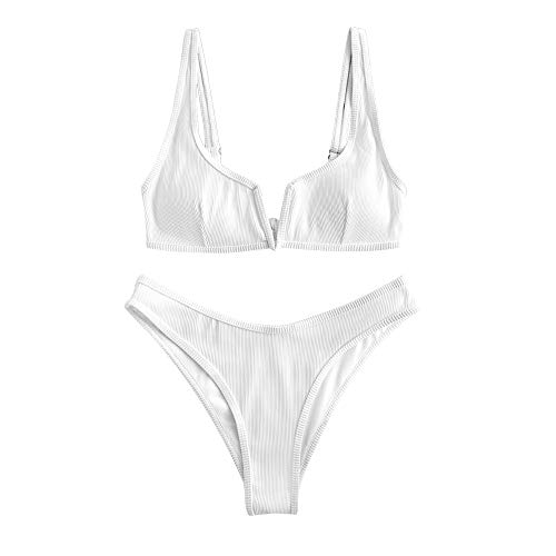 ZAFUL Women's V-Wire Padded Ribbed High Cut Cami Bikini Set Two Piece Swimsuit (Wk-White, S)