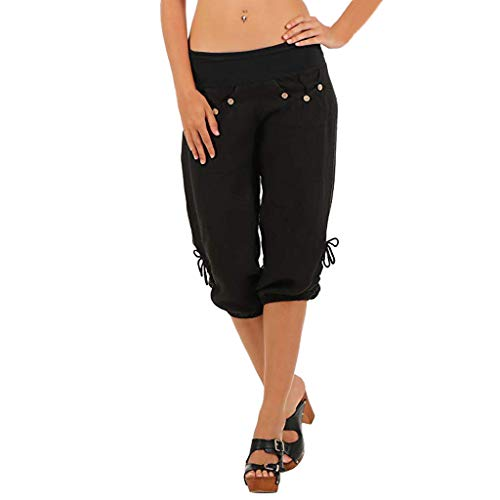 TOTOD Capris Shorts for Women Summer Solid Elastic Waist Boho Check Pockets Pants Baggy Wide Leg Black