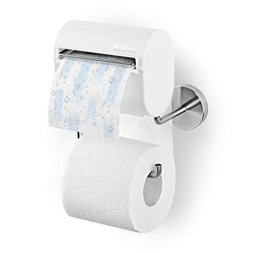 bideo® Toilettenpapierhalterung inkl. Befeuchter, weiß | Ohne Farb-, Duft- und Konservierungsstoffe | bideo Papierspender