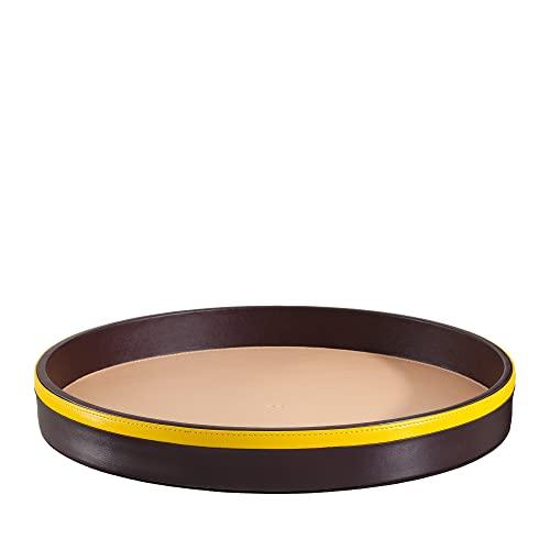 DUDU Bandeja para Servir Redonda de Piel de 32 cm Multicolor de Almacenamiento para casa para Oficina Diseño Refinado Burgundy