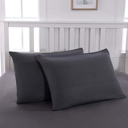 QZY 2er Pack Kissenbezug 50x75cm Hochwertig & Qualitäts Kissenhülle mit Reißverschluss 100% Microfaser in 5 Farbe Dunkel-Grau/Schwarz/Rosa/Weiß/Beige