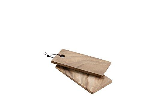Gras houten plank met handvat en leren lus.