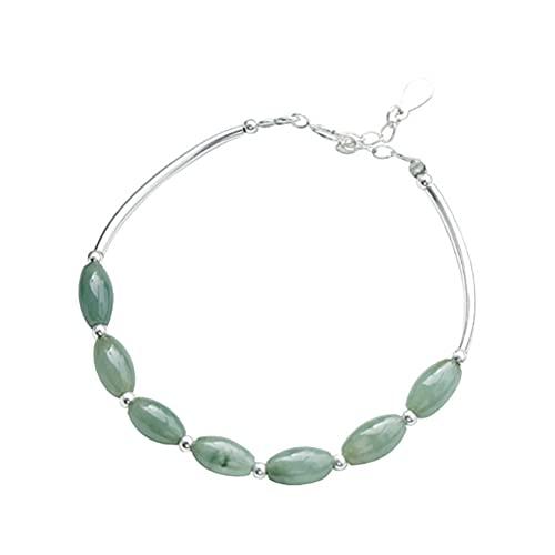 ASUROM S925 Sterling Silver Bracelet Female Jade Jade Bead Gemstone Natural Jade Beaded Girlfriends Bracelet Retro Men and Women Bracelet Gift for Girls