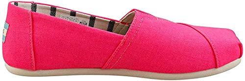 TOMS - Womens Alpargata Espadrille, Size: 6 B(M) US, Color: Neon Pink Heritage Canvas