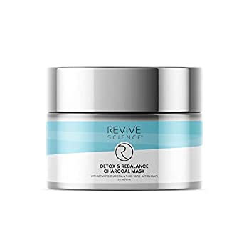 Revive Science Clay Mask with Activated Charcoal Kaolin Clay and Pink Clay to Reduce and Exfoliate Acne Blackhead Dirt and Oil - Pore Cleansing Detox Face Mask for Men &Women  60 ML