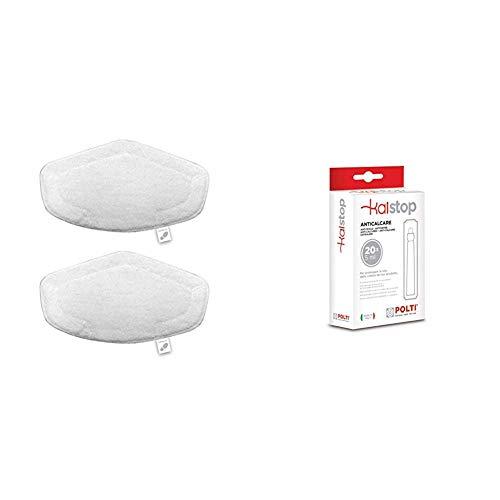 Polti PAEU0332 Kit de 2 paños de microfibra para cepillo Vaporforce, Blanco + Kalstop - Anticalcáreo para aparatos con caldera, no tóxico