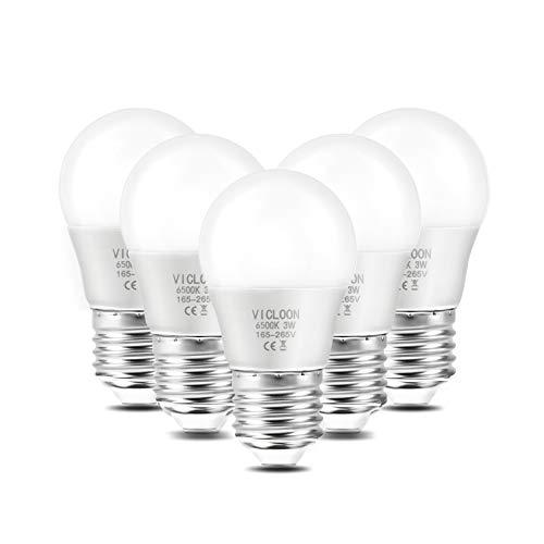 Vicloon E27 LED Lampe, G45 LED Birne 3W ersetzt 25W Glühlampen, 280 Lumen, 6500K Weißes Licht, AC 220V-240V, Nicht Dimmbar E27 Energiesparlampe, 270° Strahlwinkel LED Globe Leuchtmittel, 5er-Pack
