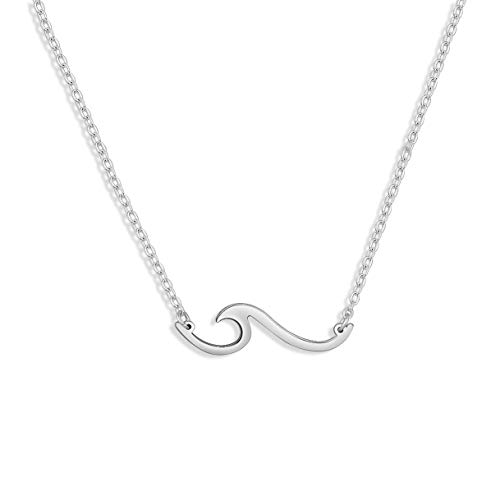 KUIYAI Ocean Wave Pendant Necklace Surf Beach Necklace Jewelry (Silver Wave Necklace)