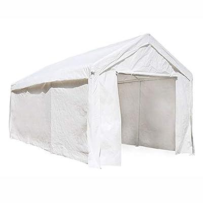 ALEKO CP1020WH Outdoor Event Carport Garage Canopy Tent Shelter Storage with Sidewalls 10 x 20 x 8.5 Feet White