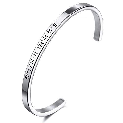 MeMeDIY Personalisierte Armband Gravur Name Identifizierung ID Angepasst für Männer Frauen Mädchen Jungen Wasserdicht Edelstahl Einstellbare Stulpearmband (4mm Breite, Silber Farbe)
