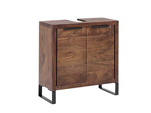 Woodkings® Waschbeckenunterschrank Sydney Holz schmal Waschtischunterschrank Badmöbel klein Badezimmerschrank Badschrank Bad Unterschrank Massivholz mit Fuß auch hängend möglich (Akazie dunkel)