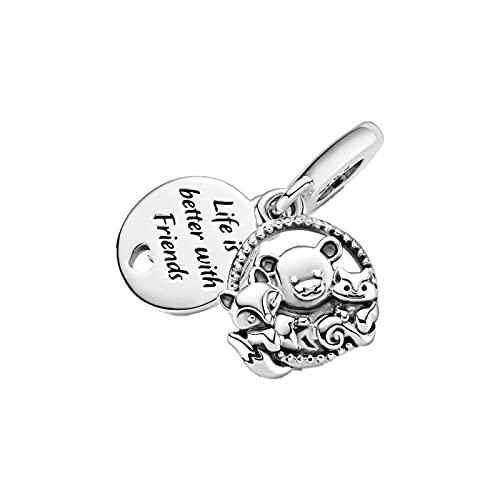 LIJIAN DIY 925 Sterling Jewelry Charm Beads Fox and Squirrel Make Original Pandora Collares Pulseras Y Tobilleras Regalos para Mujeres