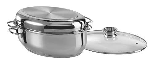 GSW 411318 Edelstahl Multibräter 3in1 oval 38cm, rostfrei 18/8, Glas, silber