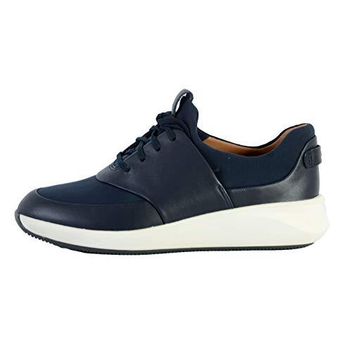 Clarks Un Rio Lace, Zapatillas para Mujer, Navy Leather Textile Combi, 39.5 EU