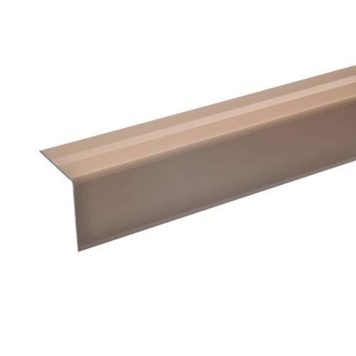 acerto 51130 Aluminium Treppenwinkel-Profil - 135cm, 42x40mm, bronze hell * Rutschhemmend * Robust * Leichte Montage Treppenkanten-Profil, Treppenstufen-Profil Alu Selbstklebendes Treppenkanten-Profil