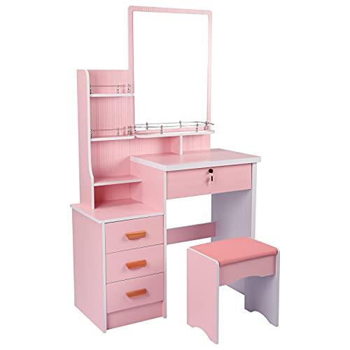 Lzcaure Tocador elegante tocador de maquillaje con espejo grande 4 cajones estantes de almacenamiento y taburete acolchado mesa de maquillaje