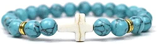 ZKZKK Feng Shui Wealth Bracelet Stone Bracelet Women,7 Chakra Natural Stone Bead Bangle Turquoise Elastic Bracelet Yoga Cross Lucky Fashion Jewelry for Ladies Exquisite Can Bring Luck and Prosperity