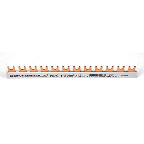 Phasenschiene 1x10mm² 12-Module Sammelschiene Kammschiene Hutschiene 63A