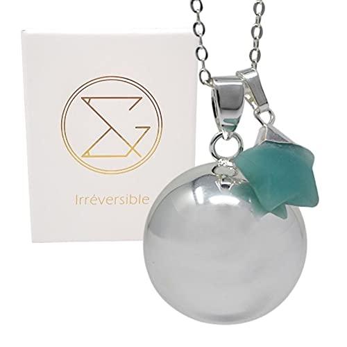 Bola de embarazo, plata lisa, colgante de estrella Amazonita con cadena fina para mujeres embarazadas, regalo para mamá y futuras madres, creación y diseño francés