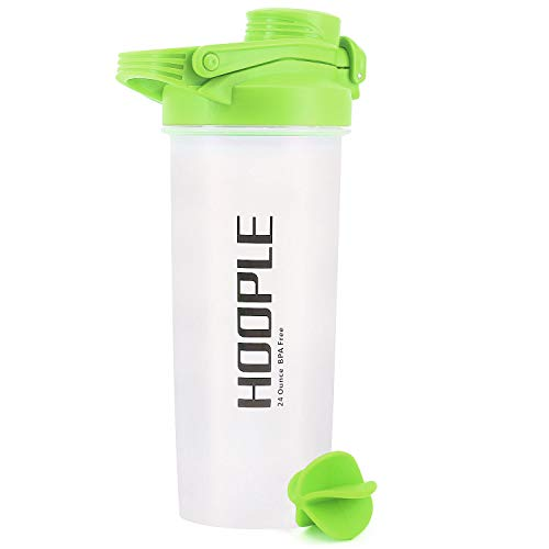 HOOPLE Shaker Bottle Protein Powder Shake Blender Gym Smoothie Cup, BPA Free, Auto-Flip Leak-Proof Lid, Handle with Ball Included - 24 Ounce (Green)