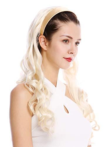 WIG ME UP - WH5044-613 Mi-perruque postiche serre-tête bandeau blond platine ondulé bouclé longueur 65 cm