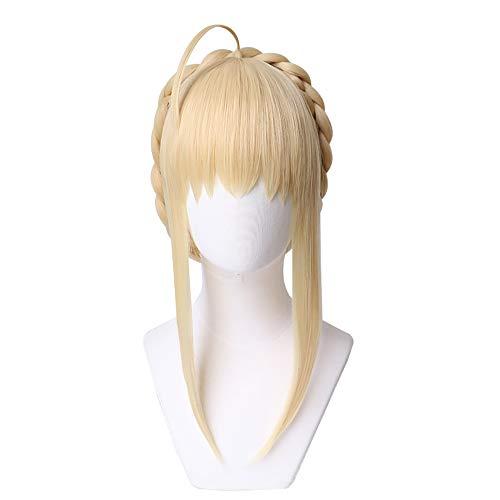 UWOWO Fate Grand Order/FGO Artoria Pendragon (Lancer) Cosplay peluca de 40 cm de oro