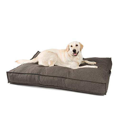 JAMAXX Premium Hundekissen in edler Leinen-Optik - Orthopädisch Memory Visco Schaumstoff - Waschbar Abnehmbarer Bezug - Wasserabweisender Innenbezug - Hundebett PDB1005 (L) 120x90 braun-grau