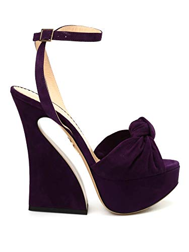 charlotte olympia Vreeland Suede Sandals, 7.5 Dark Purple