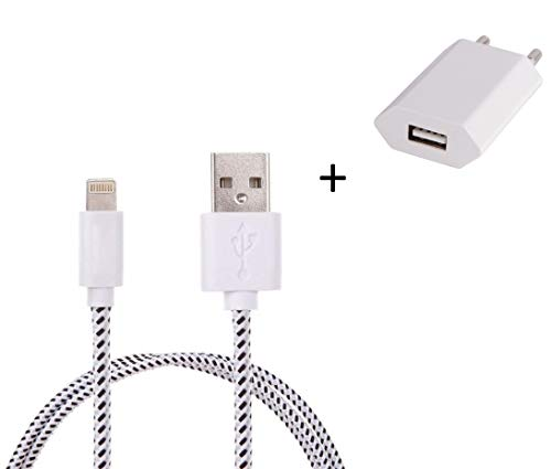 Shot Case Universal Android Wall Charger Pack for iPad Pro Lightning (3 m Braided Cable + USB Plug) White