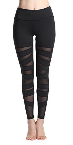 Lotsyle Women's Mesh Yoga Pants Fitness Leggings High Waist Active Pants, Black4, Large