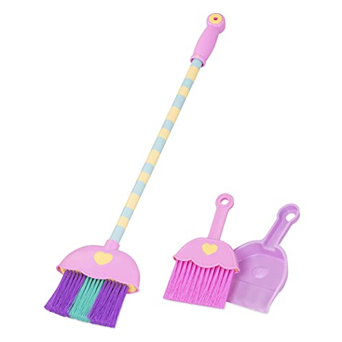 Play Circle by Battat – Mighty Tidy Sweeping Set – Colorful Broomstick and Pink Hand Broom with Dustpan – Pretend Play House Cleaning Toys for Kids Ages 3 and Up (4 Pieces)
