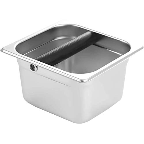Coffee Knock Box, Stainless Steel Espresso Knock Box Built-in Container for Coffee Ground 6.3 x 6.89 x 3.7 inch (Square)