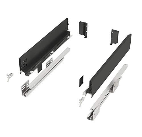 Schubkastensystem SO-SLIM anthrazit Höhe: 84 mm Tiefe: 500 mm belastbar bis 40 Kg Soft-Close Schubladensystem mit 13 mm schlanken Schubladenzargen