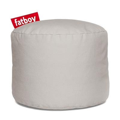 Fatboy Point Stonewashed (Katoen) | Rond Katoenen Poefje | Zilver | 50 x 50 x 35 centimeter