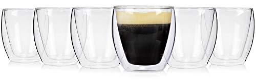 Doppelwandige Kaffee-Gläser Set Café 6 teiliges Kaffeebecher Set für 6 Personen aus Glas, Thermo-Gläser Füllmenge: 200 ml, ohne Henkel, Alltag, Büro, Frühstück, Outdoor Tee-Gläser Set von Sänger
