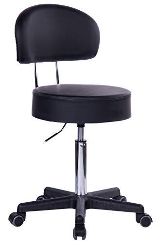 1stuff® Profi Rollhocker Squash Bigback - 40cm Sitzbreite - bis 180kg* -Höhe bis ca. 73cm - Arzthocker Arbeitshocker Bürohocker Praxishocker Drehhocker (schwarz)