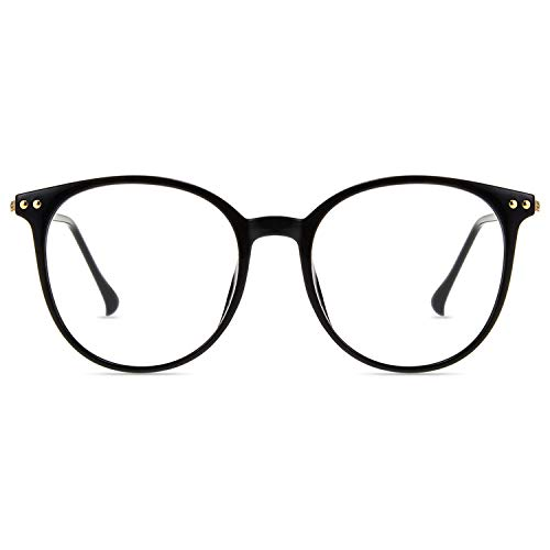 Zinff Brille Anti blaues Licht UV400 Anti Fatigue Anti Reflection Blaulichtfilter Oval Vintage Retro Oversize TR90 Ultra Light Großer Rahmen für Frau Mann Bildschirm Computer Telefon (SCHWARZ)