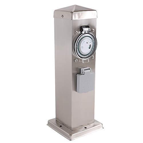 Steckdosensäule 2-fach Edelstahl Energiesäule IP44 Gartensteckdose 35cm Höhe Steckdose + Timer/Zeitschaltuhr