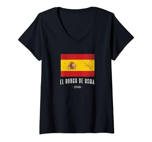 Mujer El Burgo de Osma España   Souvenir - Ciudad - Bandera - Camiseta Cuello V