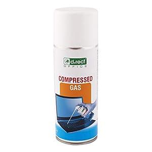 D.RECT 110502 comprimido   Spray Limpiador 400 ml   Compresor de Aire   para Limpieza de Teclado, Ordenador, cámara, teléfono móvil, 400 milliliters, Transparente