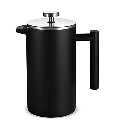 Prasa francuska ze stali nierdzewnej, ciśnienie filtra do kawy Moka Perkolator, garnek do kawy czajnik, 1000ml ( Color : Black , Rozmiar : One size )