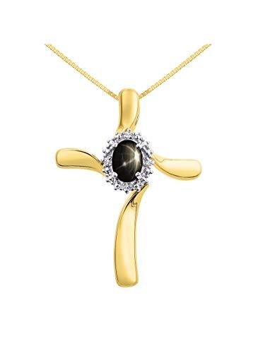 Rylos Einfach Elegante schöne Black Star Saphir & Diamant Anhänger Halskette - März Birthstone
